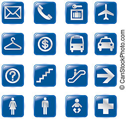 Airport and Travel Icons, Vector Fi