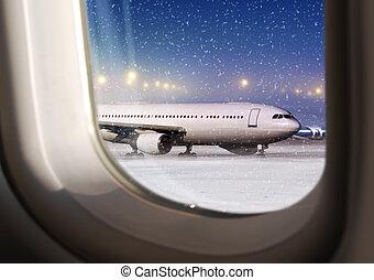 view through a plane window