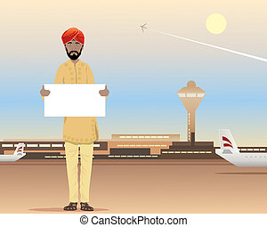 an illustration of a sikh waiting at the airport terminal with name card under a dusty blue sky