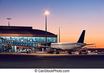 Airport at the colorful sunset