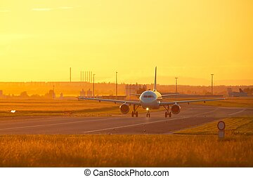Airport at the sunset