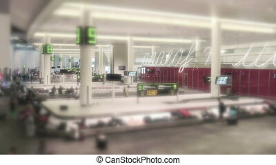 Airport Baggage Claim in 4K - Airport baggage claim of a...