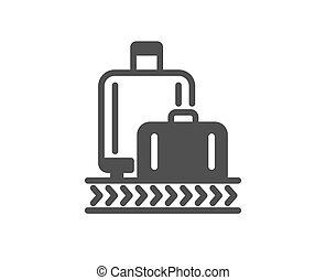 Airport baggage reclaim icon. Airplane luggage lane sign. ...