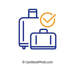 Airport baggage reclaim line icon. Airplane luggage sign. ...