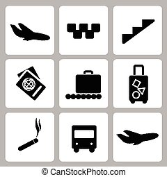 Airport black icon collection