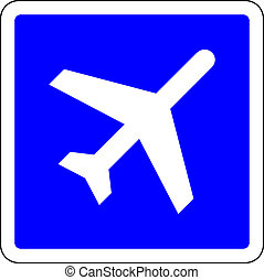 Airport blue sign