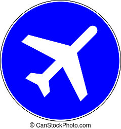 Airport blue sign on white background