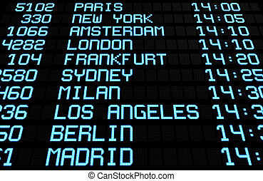 Airport Board Display International Destinations