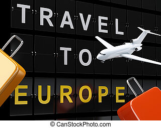 Airport board, travel suitcases and airplane. Travel to europe concept.