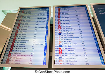Airport board with depatures and arrivals