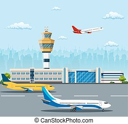 Airport building and airplanes on runway. Control Tower and...
