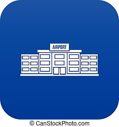 Airport building icon digital blue