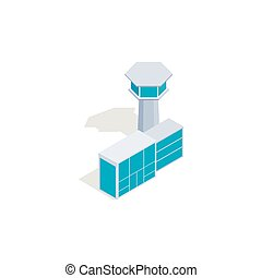 Airport building icon, isometric 3d style