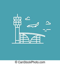 Airport building. Plane is landing. Vector line icon