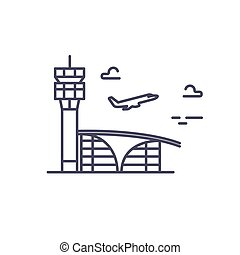 Airport building. Plane taking off. Vector line icon.