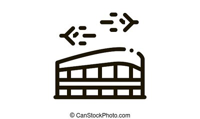 Airport Building Station Icon Animation. black Airport And Air Planes Flying Concept Linear Pictogram. Construction For Passengers animated icon on white background