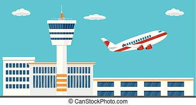 Airport buildings, control tower, runway and take-off modern...