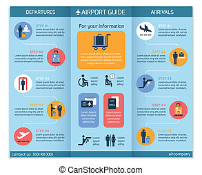Airport business infographic brochure template with security check workflow steps vector illustration