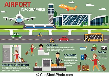Airport business infographics template and travel element. vector illustration.