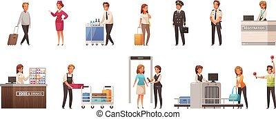 Airport Cartoon Icons Set