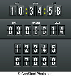 Airport characters and numbers in vector calendar clock. -...