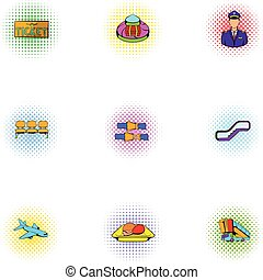 Airport check-in icons set, pop-art style