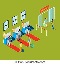 Airport Check-in Point with Isometric People with Baggage. Vector illustration