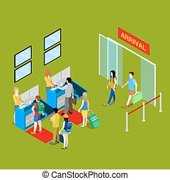 Airport Check-in Point with Isometric People