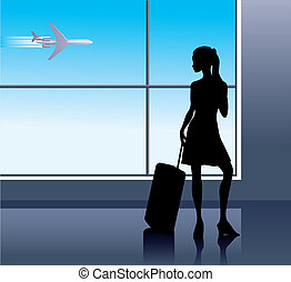 Airport - Girl with baggage in airport