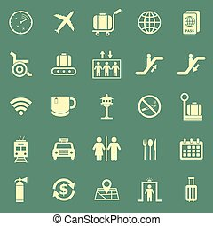 Airport color icons on green background