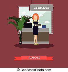 Airport concept vector illustration in flat style