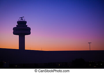 Airport Control Tower at a Beatiful Sunset