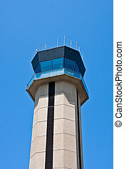 Airport Control Tower on Blue