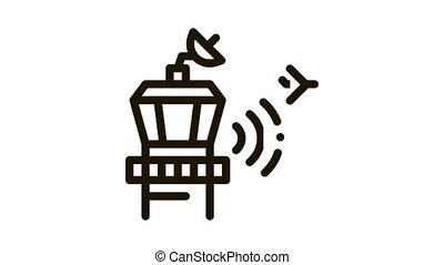 Airport Control Tower Radar Icon Animation. black Air Flight Controller Tower Concept Linear Pictogram. Technical Block animated icon on white background