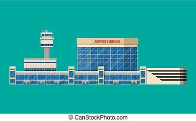 Airport control tower, terminal building and parking area....