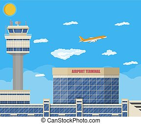 Airport control tower, terminal building - Aircraft above...