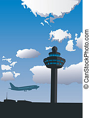 Vector illustration of airport control tower and flying airplane