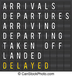 Airport flip chart display. Departures and arrivals board.