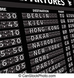 Airport departure board in perspective