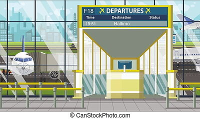Airport departure board with Baltimore caption. Travel in ...