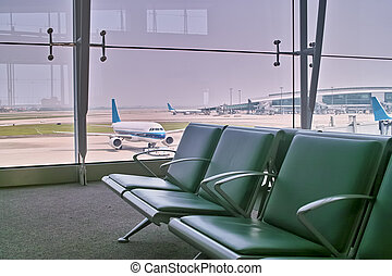 Airport departure hall - Departure hall of the airport with...
