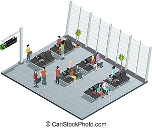 Airport Departure Lounge Isometric Composition - Airport...