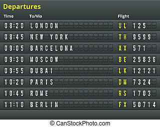 Airport departures table. Vector Illustration for alphabet with letters and numbers.