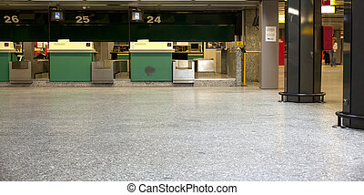 Airport desk - Green desks in airport hall