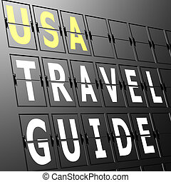 Airport display USA travel guide