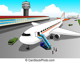 Airport - Cartoon illustration of an airport