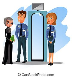 Airport employee man checks boarding documents- passports, tickets from people passing gate, Asian woman travels by airplane, passenger boarding vector illustration