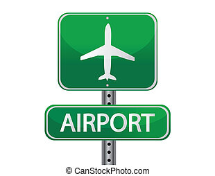 Airport - airport street sign isolated over a white...