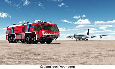 Airport Fire Truck and Airliner - Computer generated 3D...