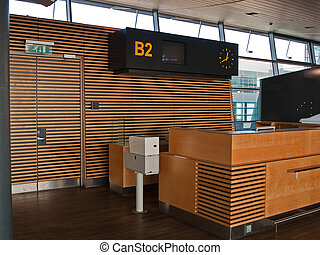 Modern Airport flights Check-in departure counter gate area
